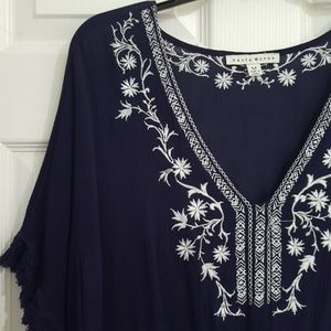 Navy Blue White Embroidered Floral Top
